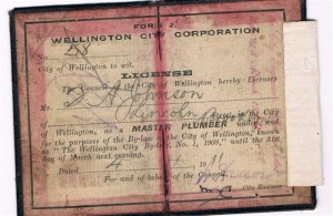 Plumbing Master Licence 1911